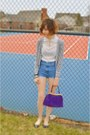 Purple-purse-blue-diy-shorts-heather-gray-h-m-cardigan