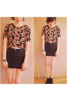 black diy crop top DIY blouse - black jean mini skirt H&M skirt