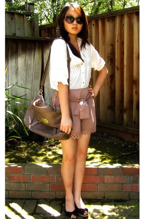 light brown romwe shorts - black 80s Purple sunglasses - white Forever 21 blouse