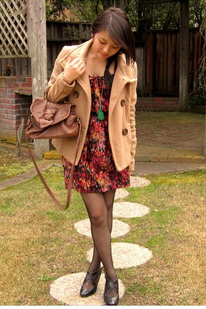ruby red Forever 21 dress - camel Forever 21 coat - black Urban Outfitters wedge