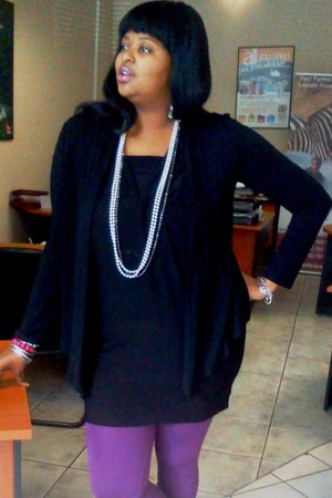 watch - dress - leggings - accessories - necklace - cardigan