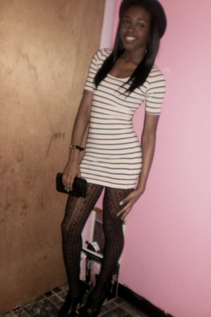 cream striped Forever 21 dress - black H&M hat - black lace tights Forever 21 st