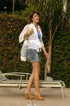 Zara blouse - Zara t-shirt - Zara shorts - Minelli shoes - H&M purse