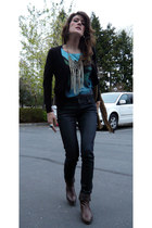 Pastel boots - Zara jeans - H&M necklace - H&M cardigan - H&M t-shirt