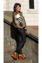Zara jeans - H&M sweater - Forever21 vest - Zara wedges