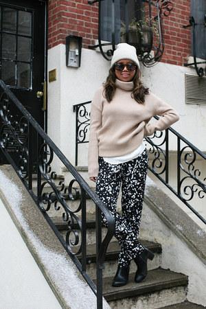 eggshell haute hippie sweater - ivory Forever 21 hat - navy haute hippie pants