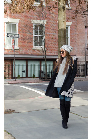 navy haute hippie jacket - black Guess boots - off white Forever 21 hat