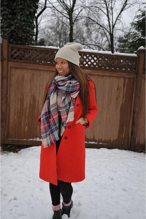 red Jcrew jacket - black H&M boots - camel Forever 21 hat - red Forever 21 scarf