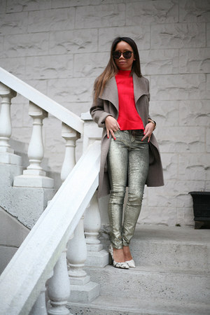 French Connection top - banana republic coat - rachel roy jeans