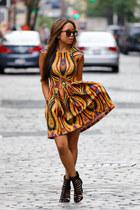 Torn by Ronny Kobo dress - Schutz heels - Aaraa accessories