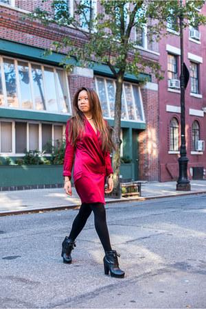 red haute hippie dress - black DKNY boots