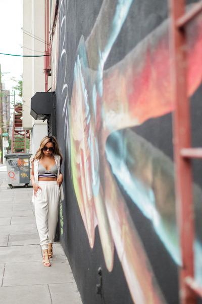 white Zara vest - eggshell Pour La Victoire heels - off white DKNY pants