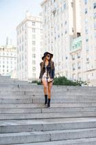 haute hippie romper - madewell hat - 6 Shore Road jacket - Steve Madden heels