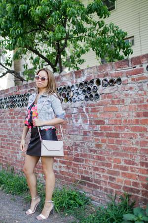 beige DKNY bag - sky blue H&M jacket - black DKNY skirt
