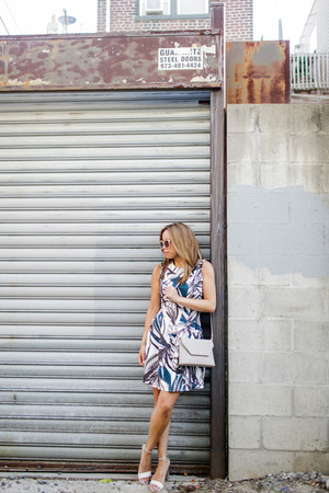 teal H&M dress - tan DKNY bag