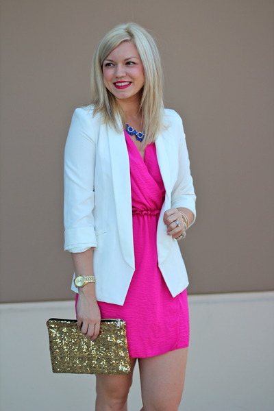 white LC Lauren Conrad blazer - hot pink wrap dress rachel roy dress