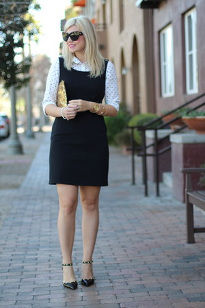black jumper Gap dress - ivory polka dots kohls top