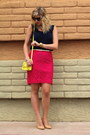 Yellow-old-navy-bag-hot-pink-target-skirt-navy-gap-top