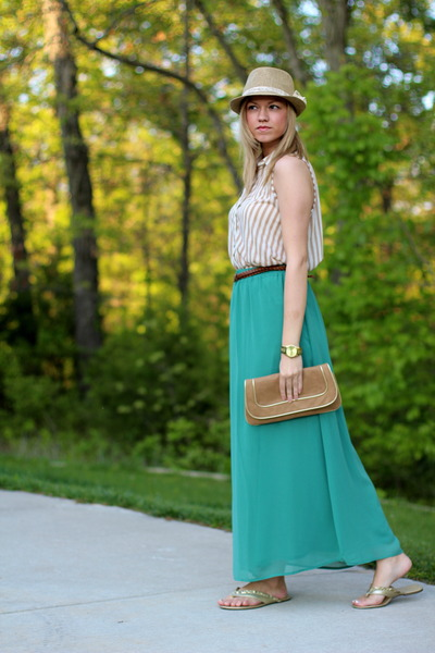 turquoise blue maxi skirt Forever 21 skirt - neutral fedora Wet Seal hat