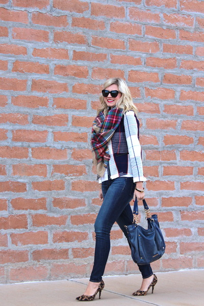 red plaid Target blazer - blue Paige jeans - neutral plaid Zara scarf