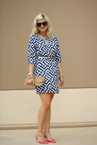 blue geometric the impeccable pig dress - white H&M bag