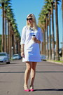 White-shirtdress-calvin-klein-dress-black-cat-eye-prada-sunglasses