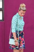 aquamarine Target top - navy floral skirt Target skirt - hot pink Target skirt