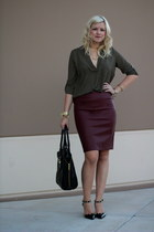 maroon vegan leather Luluscom skirt - black 31 Phillip Lim bag