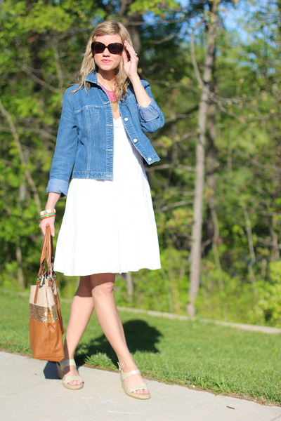 Sky Blue Denim Jacket Thrifted Jackets, White Sundress Boutique In ...