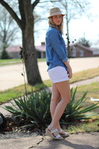 sky blue denim shirt Forever 21 shirt - tan fedora Wet Seal hat