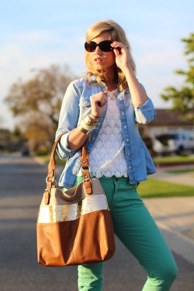 bronze glitter  bronze purse - sky blue denim chambray H&M shirt