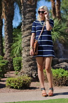 navy striped Gap dress - brown willis coach bag - brown Target wedges
