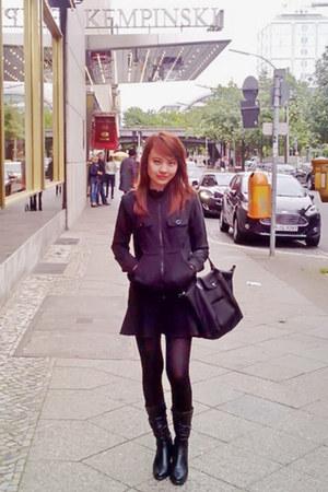 black longchamp bag - black H&M skirt