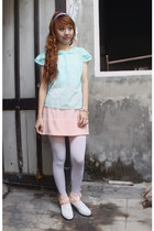 white shoes - white tights - peach socks - peach chiffon skirt