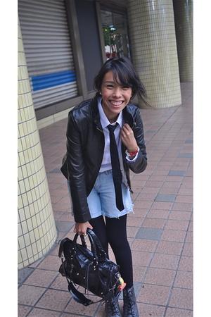 black Luela jacket - white Ralph Lauren shirt - black American Apparel leggings