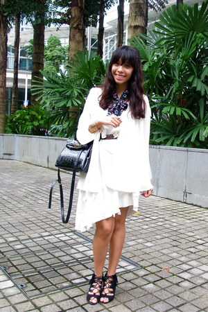 white thrifted dress - black cotton on scarf - black bysi bag