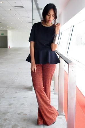 Forever 21 pants - armor cuff asos bracelet - peplum H&M blouse - H&M necklace