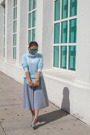 light blue shoes - silver dress - sky blue sunglasses