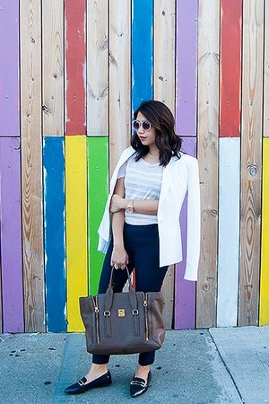 white blazer - light pink top - navy pants