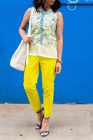 blue shoes - white bag - lime green top - sky blue top - yellow pants