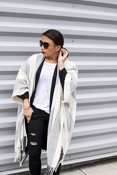 black jeans - white t-shirt - silver cape