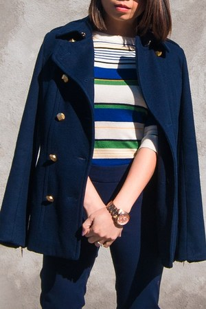 navy rachel roy coat - white Aldo shoes - dark green JCrew sweater