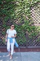 white jeans - sky blue top - white t-shirt