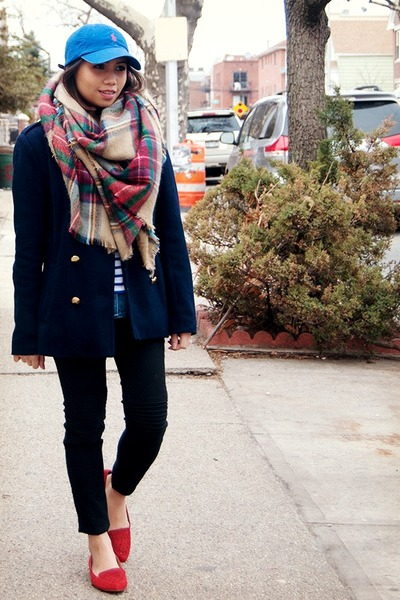 maroon Zara scarf - navy rachel roy jacket - ivory JCrew shirt - blue JCrew top