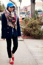 maroon Zara scarf - navy rachel roy jacket - ivory JCrew shirt - blue JCrew top