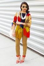 white bag - navy top - brick red sandals - mustard pants