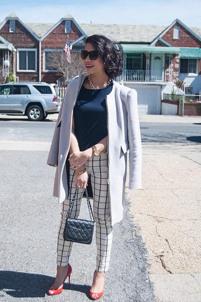 red Christian Louboutin shoes - silver Zara coat - black Chanel purse
