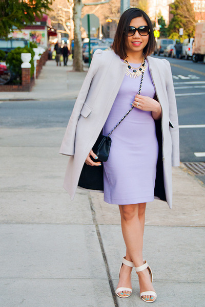 periwinkle Zara dress - silver Zara coat - black Chanel purse