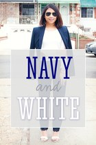white Shoedazzle shoes - white Forever 21 sweater - navy Theory blazer
