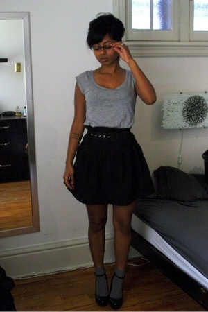 H&M t-shirt - self-made skirt - Aldo shoes - DKNY glasses